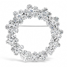 Circular Flower Rhodium Plated Brooch with Czech Crystal Stones